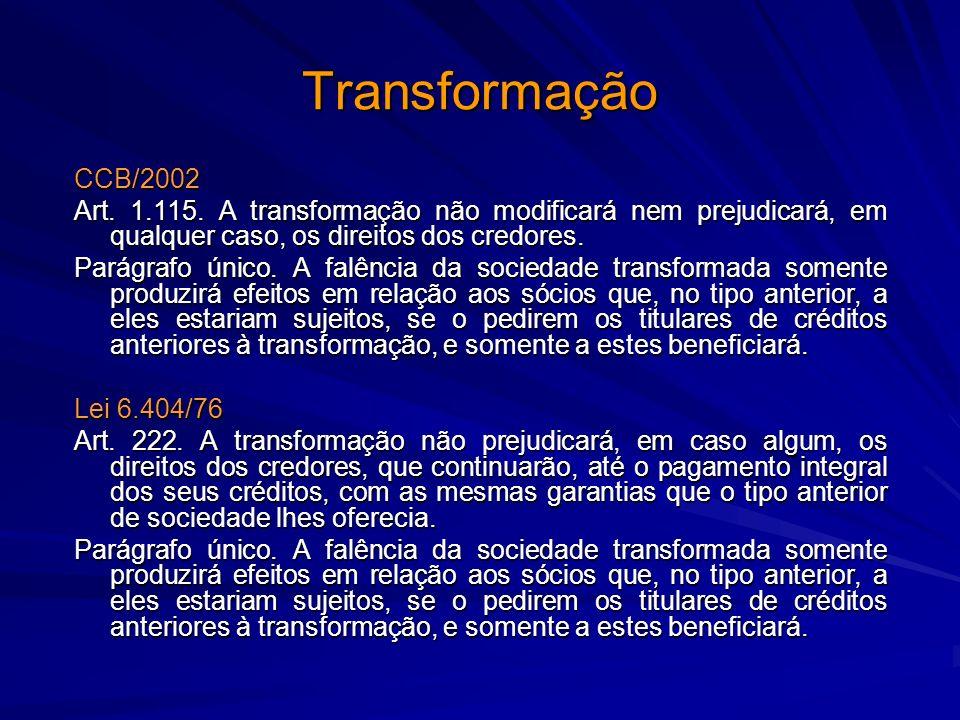 Transformação CCB/2002. Art. 1.115. A transformação não modificará nem prejudicará, em qualquer caso, os direitos dos credores.