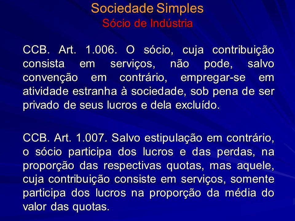 Sociedade Simples Sócio de Indústria