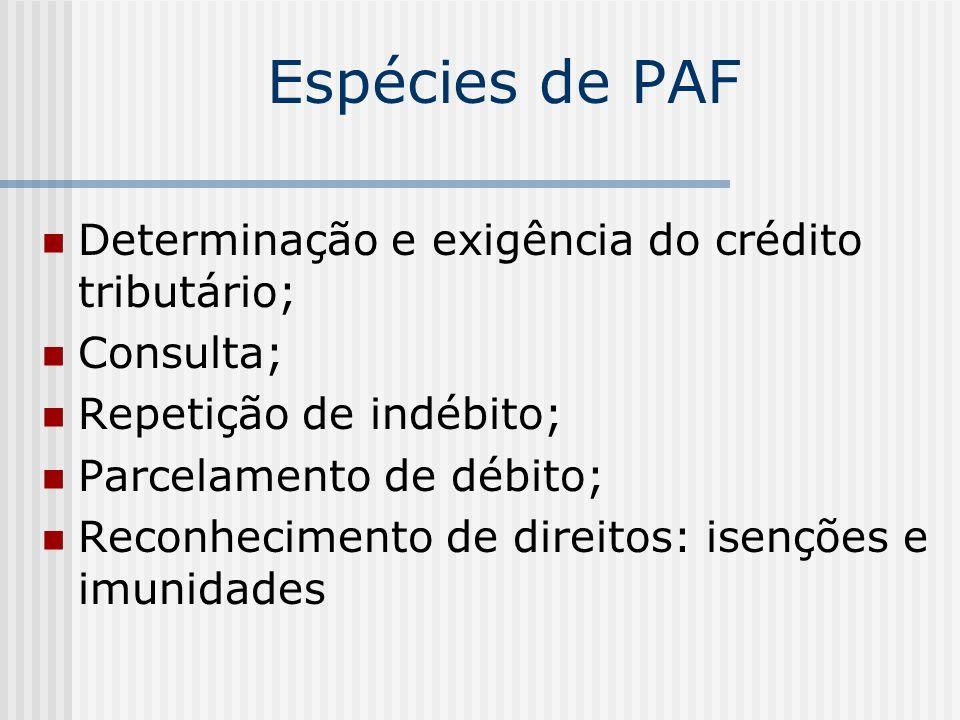 Espécies de PAF Determinação e exigência do crédito tributário;