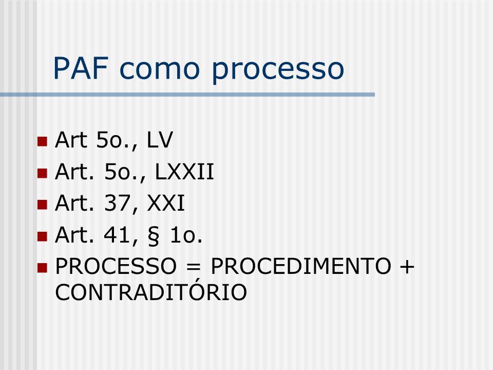PAF como processo Art 5o., LV Art. 5o., LXXII Art. 37, XXI