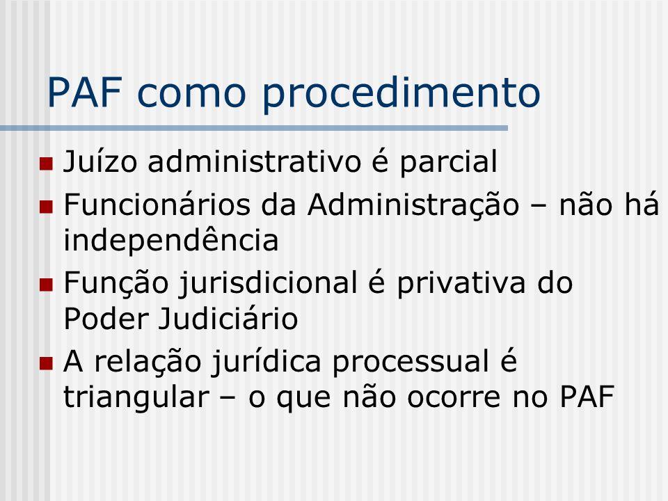 PAF como procedimento Juízo administrativo é parcial