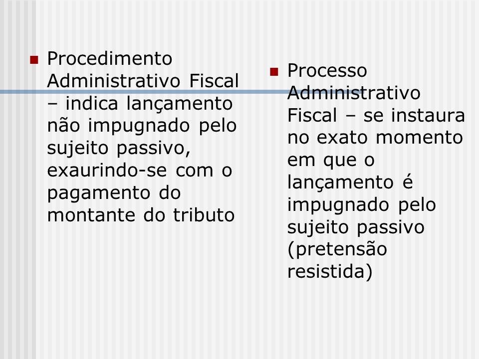 Procedimento Administrativo Fiscal – indica lançamento não impugnado pelo sujeito passivo, exaurindo-se com o pagamento do montante do tributo