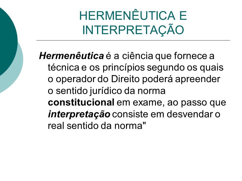 HERMENÊUTICA E INTERPRETAÇÃO