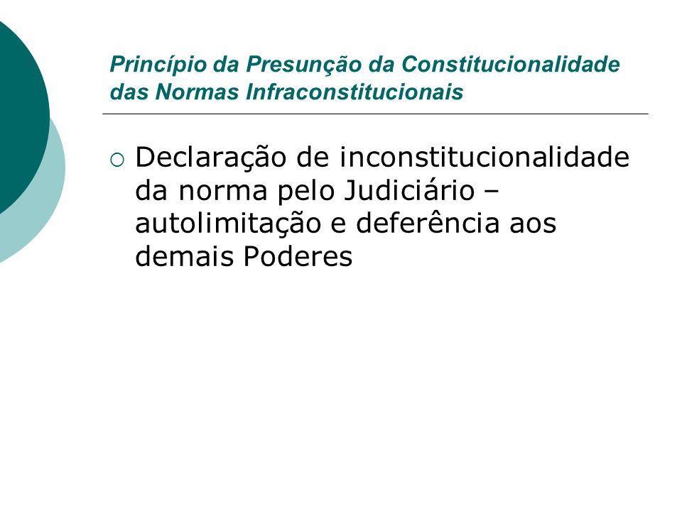Princípio da Presunção da Constitucionalidade das Normas Infraconstitucionais