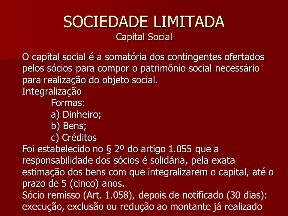 SOCIEDADE LIMITADA Capital Social