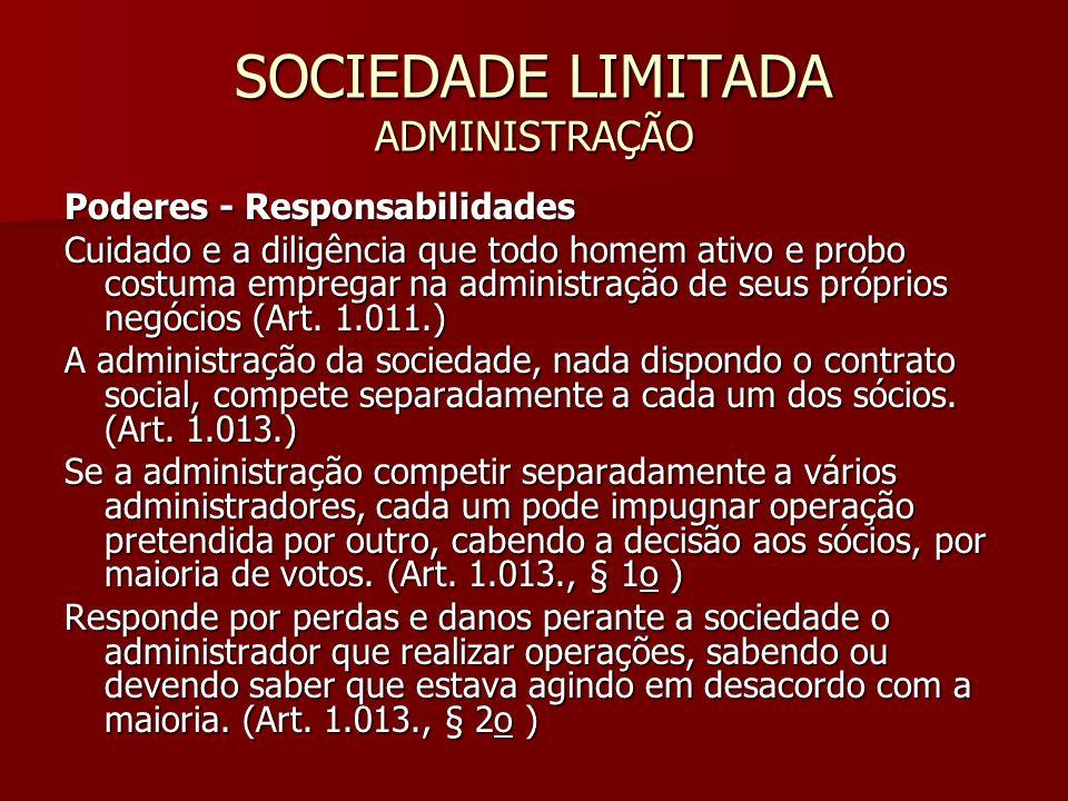 SOCIEDADE LIMITADA ADMINISTRAÇÃO