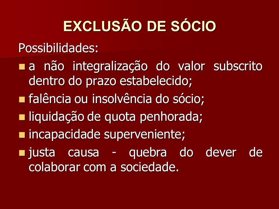 EXCLUSÃO DE SÓCIO Possibilidades: