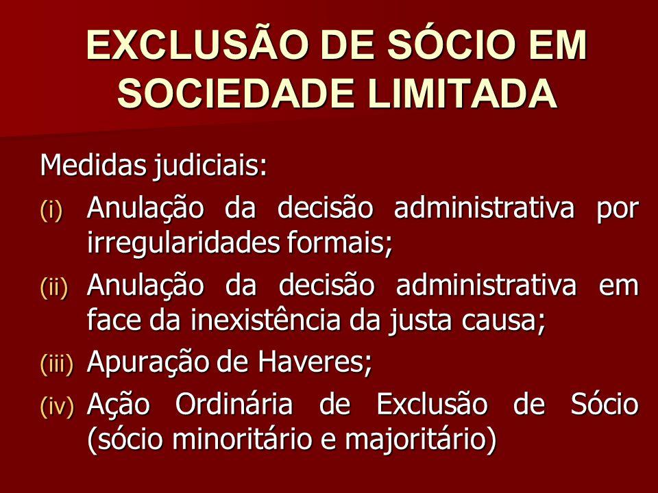 EXCLUSÃO DE SÓCIO EM SOCIEDADE LIMITADA
