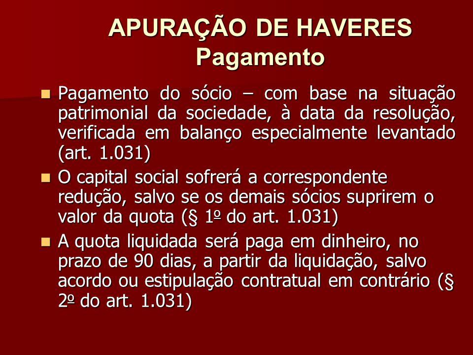 APURAÇÃO DE HAVERES Pagamento
