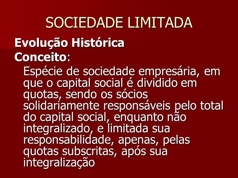 SOCIEDADE LIMITADA Evolução Histórica Conceito: