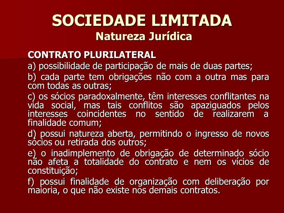 SOCIEDADE LIMITADA Natureza Jurídica