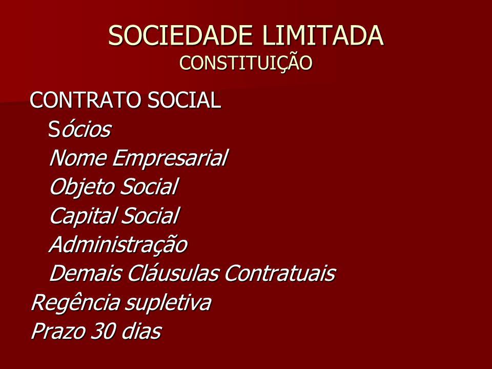 SOCIEDADE LIMITADA CONSTITUIÇÃO