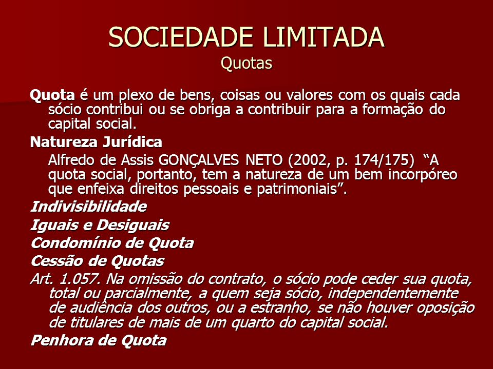 SOCIEDADE LIMITADA Quotas