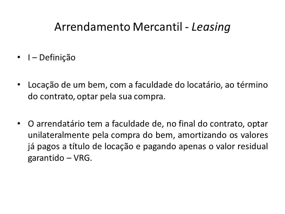 Arrendamento Mercantil - Leasing