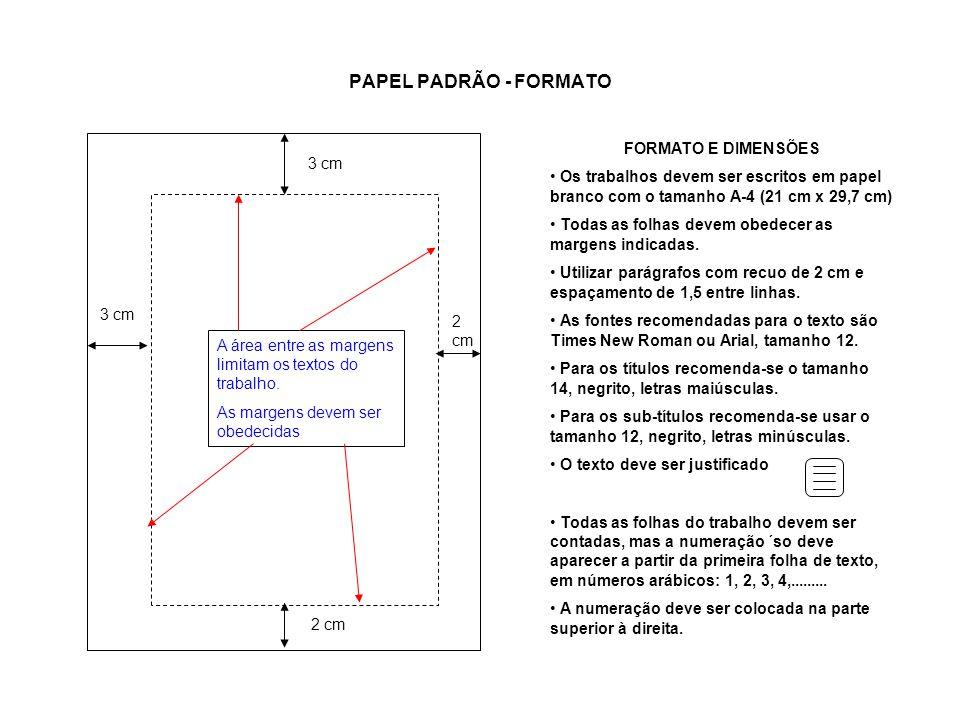 PAPEL PADRÃO - FORMATO FORMATO E DIMENSÕES