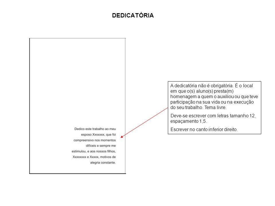 A DEDICATÓRIA.
