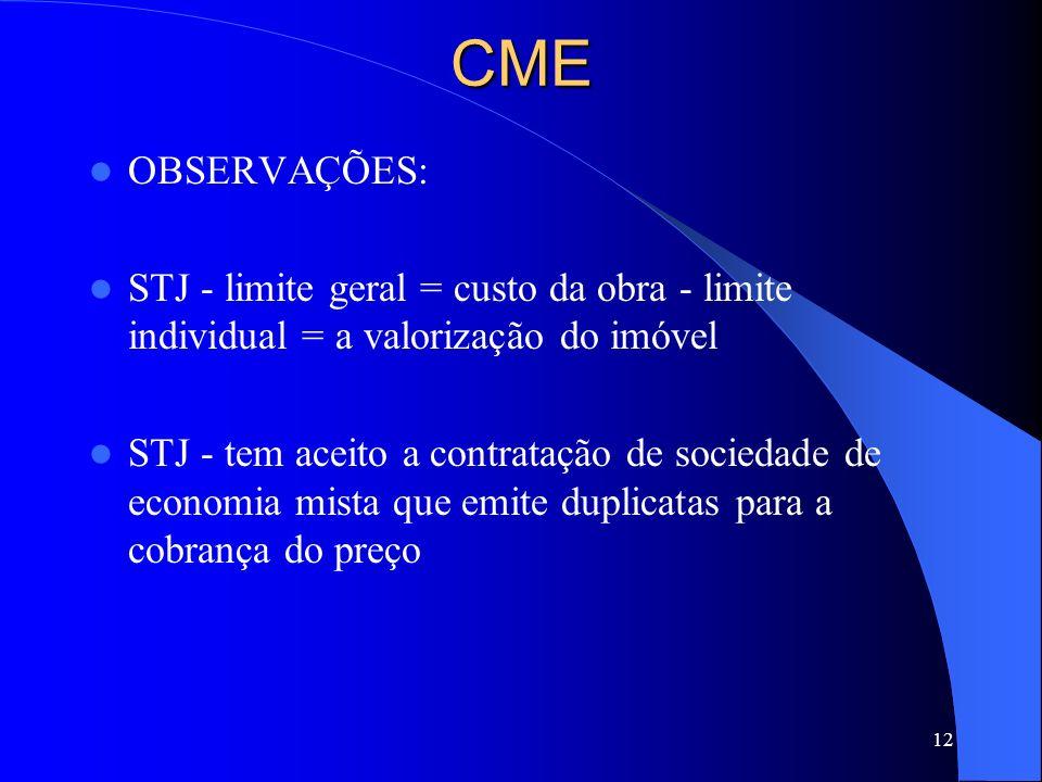 CME OBSERVAÇÕES: STJ - limite geral = custo da obra - limite individual = a valorização do imóvel.