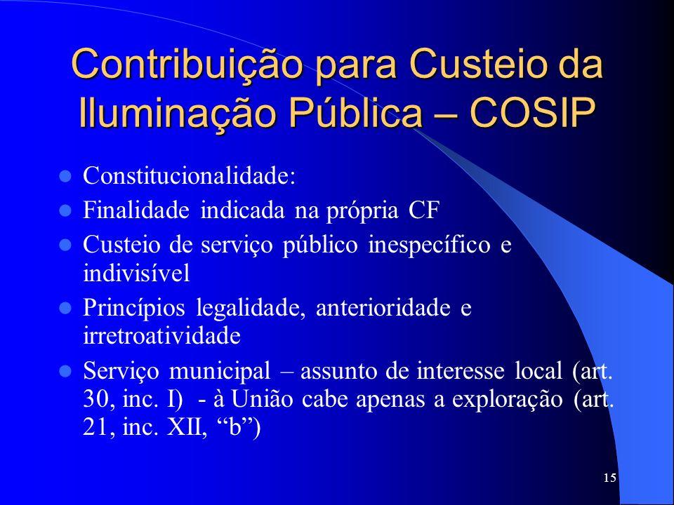 Contribuição para Custeio da Iluminação Pública – COSIP