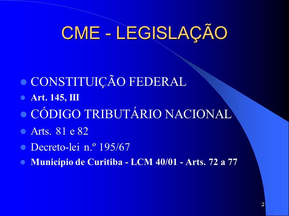 CME - LEGISLAÇÃO CONSTITUIÇÃO FEDERAL CÓDIGO TRIBUTÁRIO NACIONAL
