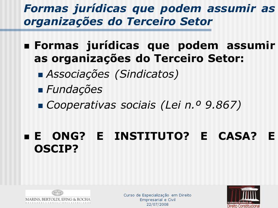 Formas jurídicas que podem assumir as organizações do Terceiro Setor