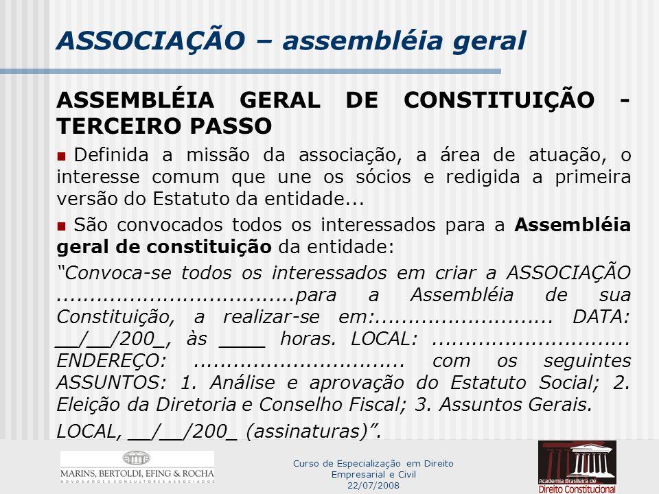 ASSOCIAÇÃO – assembléia geral