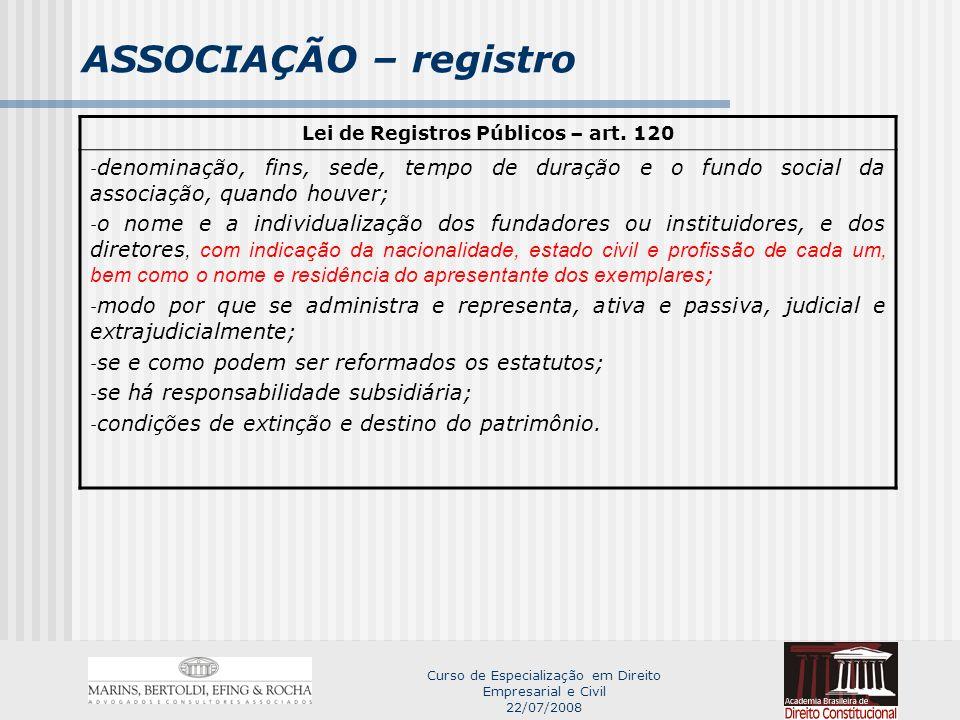 Lei de Registros Públicos – art. 120