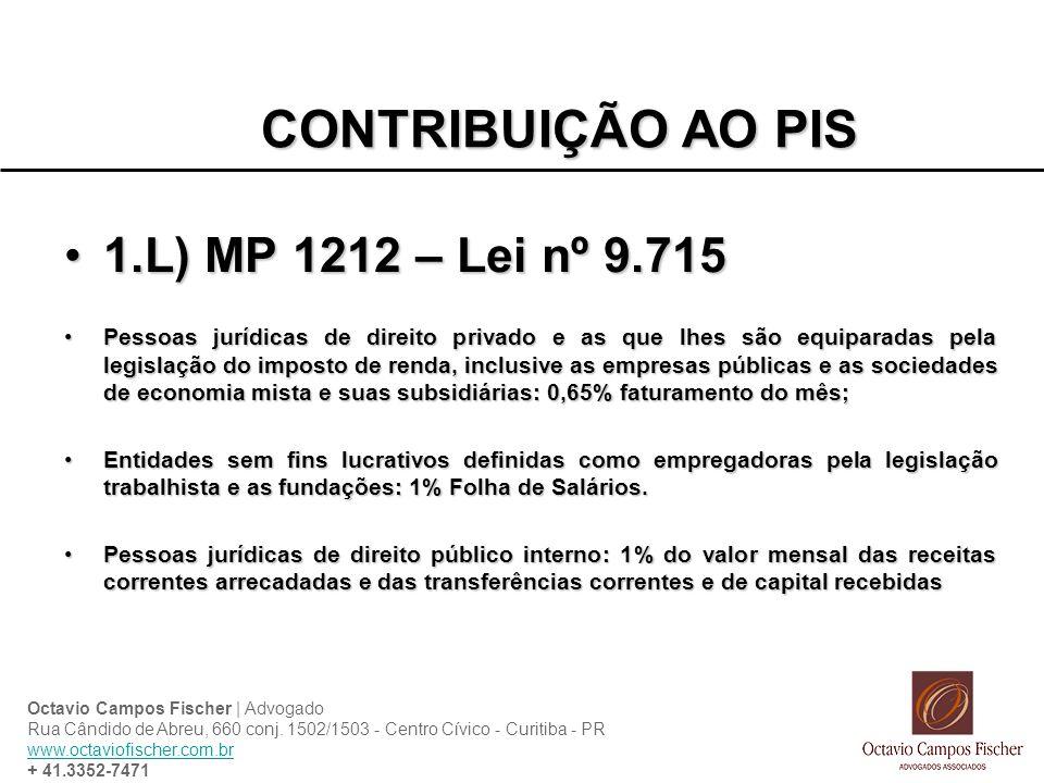 CONTRIBUIÇÃO AO PIS 1.L) MP 1212 – Lei nº 9.715