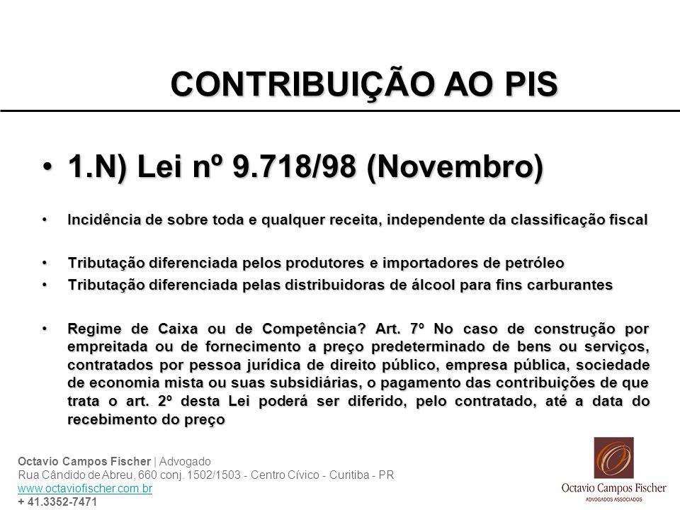 CONTRIBUIÇÃO AO PIS 1.N) Lei nº 9.718/98 (Novembro)
