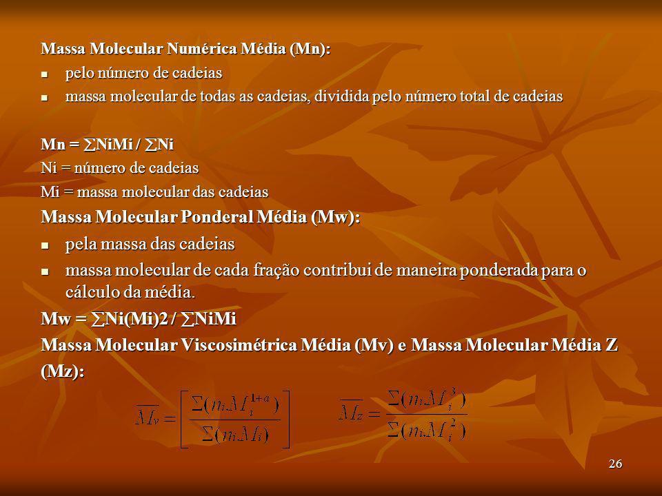 Massa Molecular Ponderal Média (Mw): pela massa das cadeias