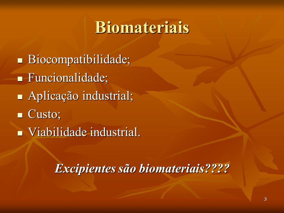 Excipientes são biomateriais