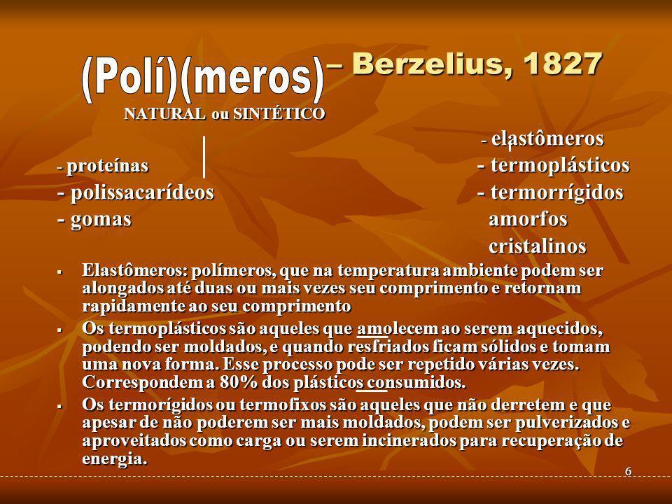 – Berzelius, 1827 (Polí)(meros) - polissacarídeos - termorrígidos