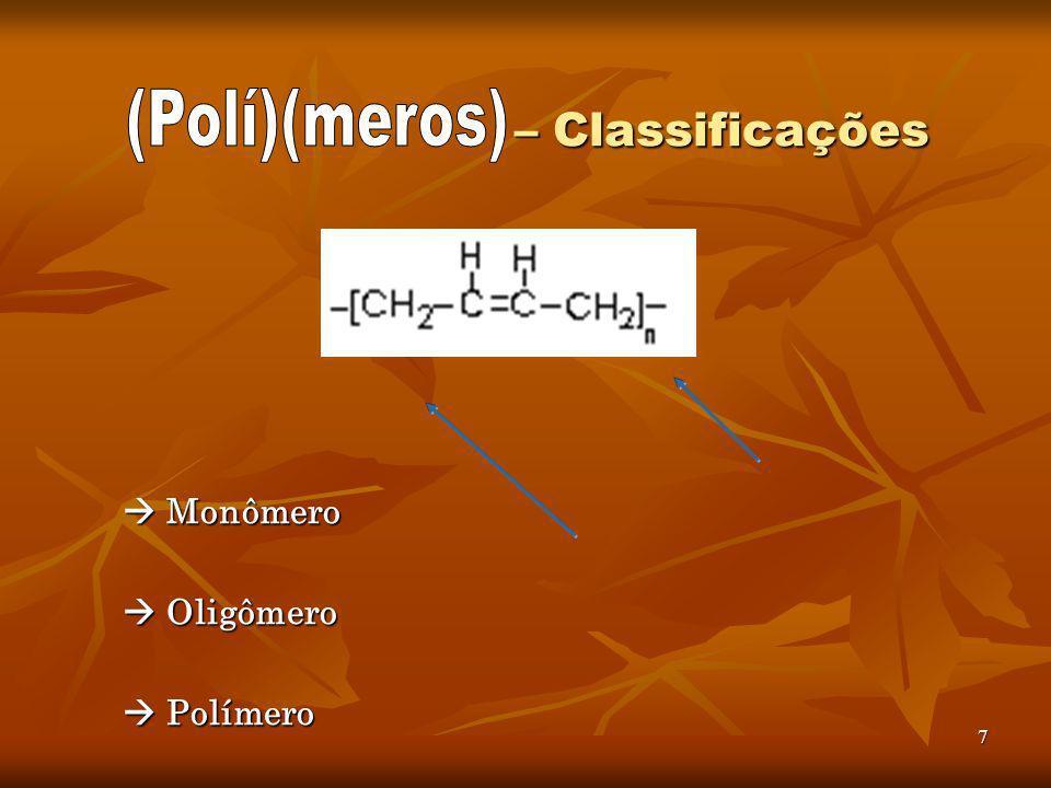 – Classificações (Polí)(meros)  Monômero  Oligômero  Polímero