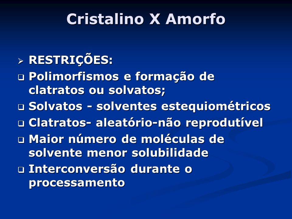 Cristalino X Amorfo RESTRIÇÕES: