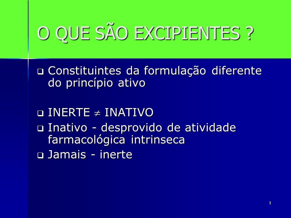 O QUE SÃO EXCIPIENTES Constituintes da formulação diferente do princípio ativo. INERTE  INATIVO.