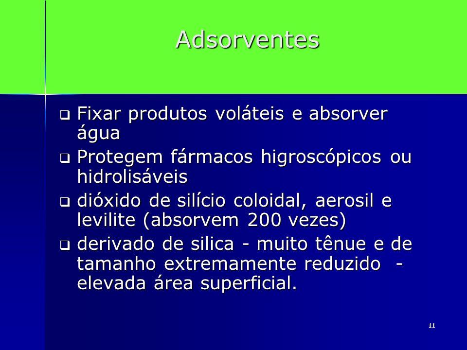 Adsorventes Fixar produtos voláteis e absorver água