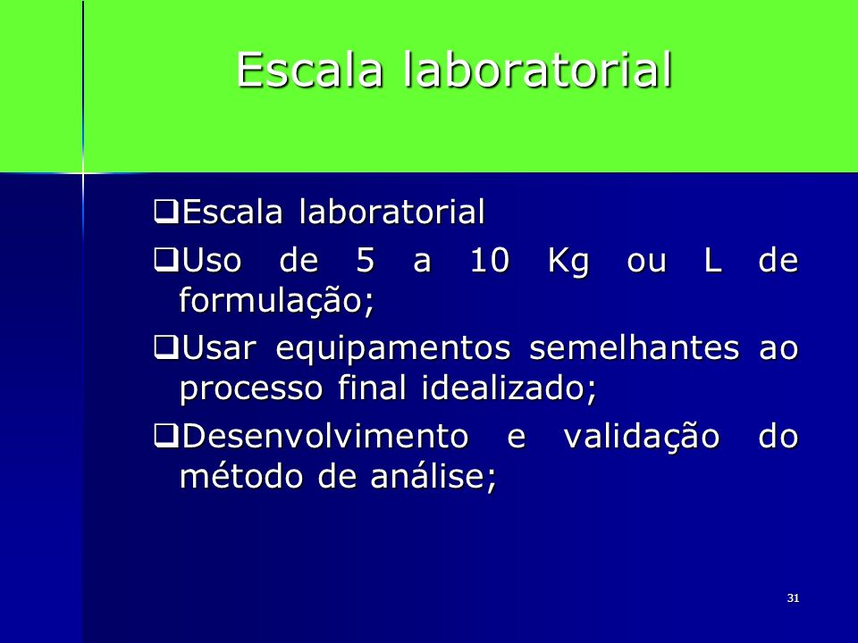 Escala laboratorial Escala laboratorial
