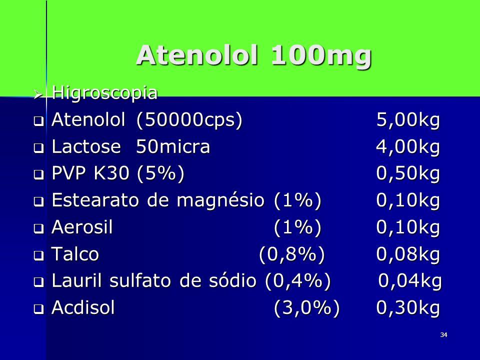 Atenolol 100mg Higroscopia Atenolol (50000cps) 5,00kg