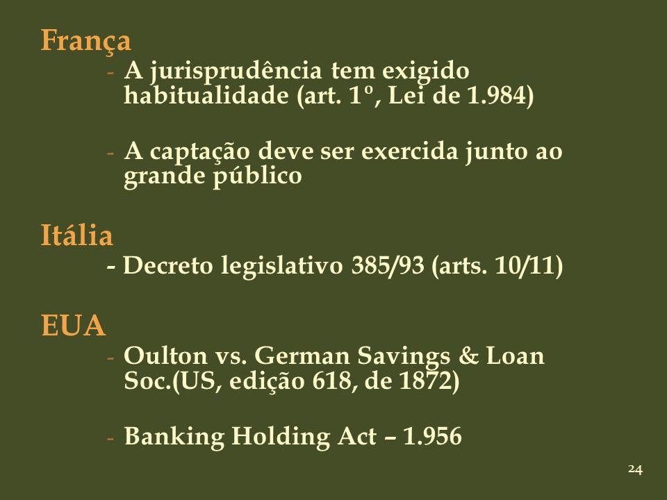 França A jurisprudência tem exigido habitualidade (art. 1º, Lei de 1.984) A captação deve ser exercida junto ao grande público.