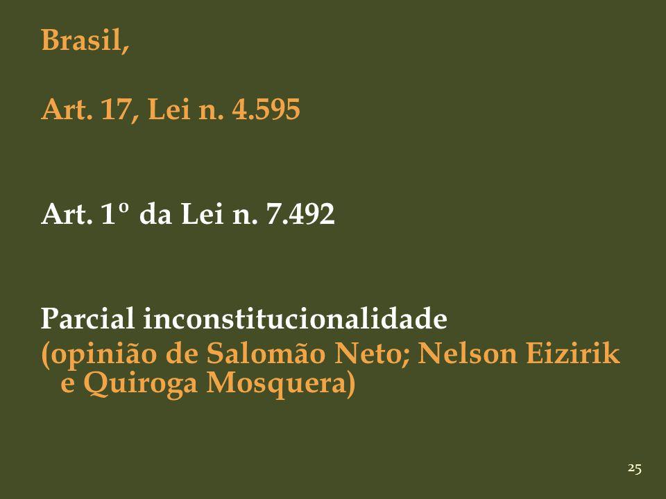 Brasil, Art. 17, Lei n. 4. 595 Art. 1º da Lei n. 7