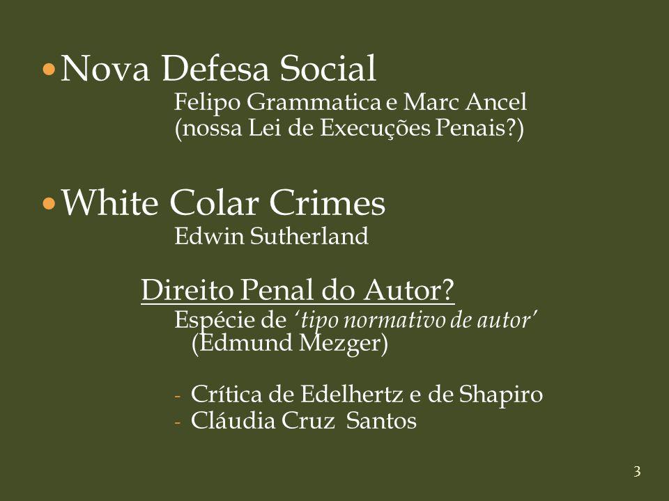 Nova Defesa Social White Colar Crimes Direito Penal do Autor