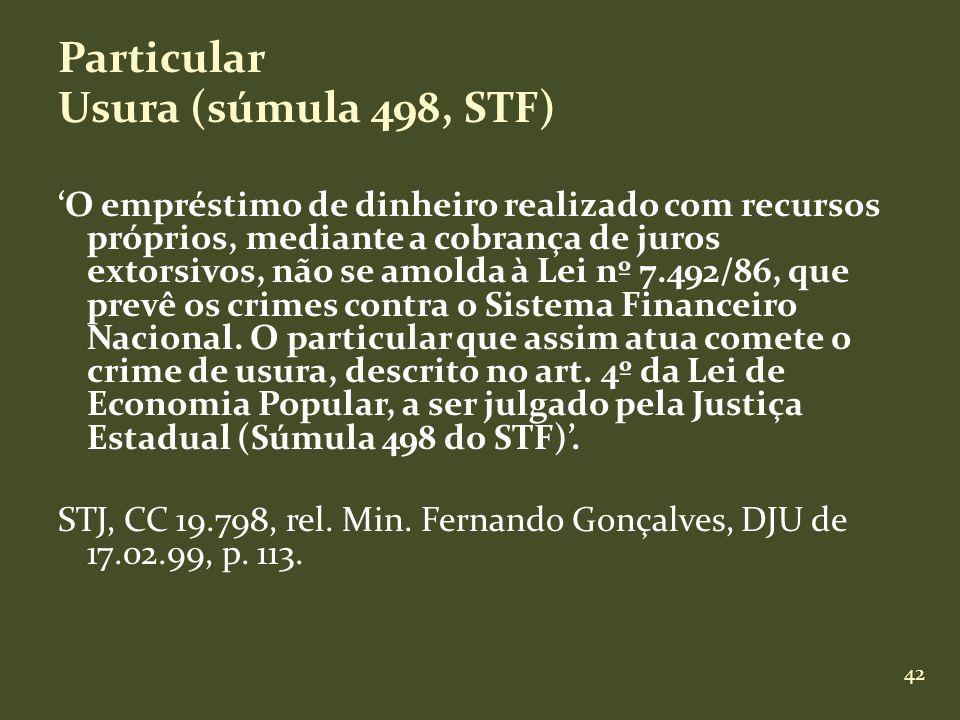 Particular Usura (súmula 498, STF)