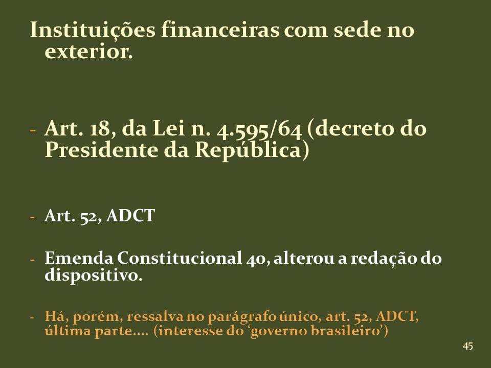 Instituições financeiras com sede no exterior.