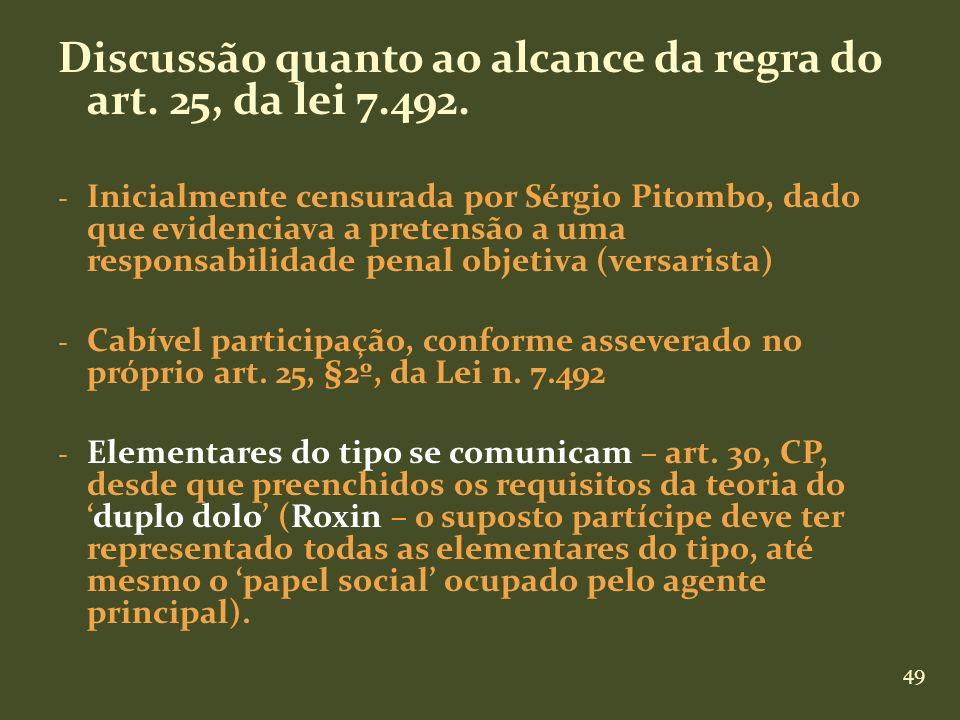 Discussão quanto ao alcance da regra do art. 25, da lei 7.492.