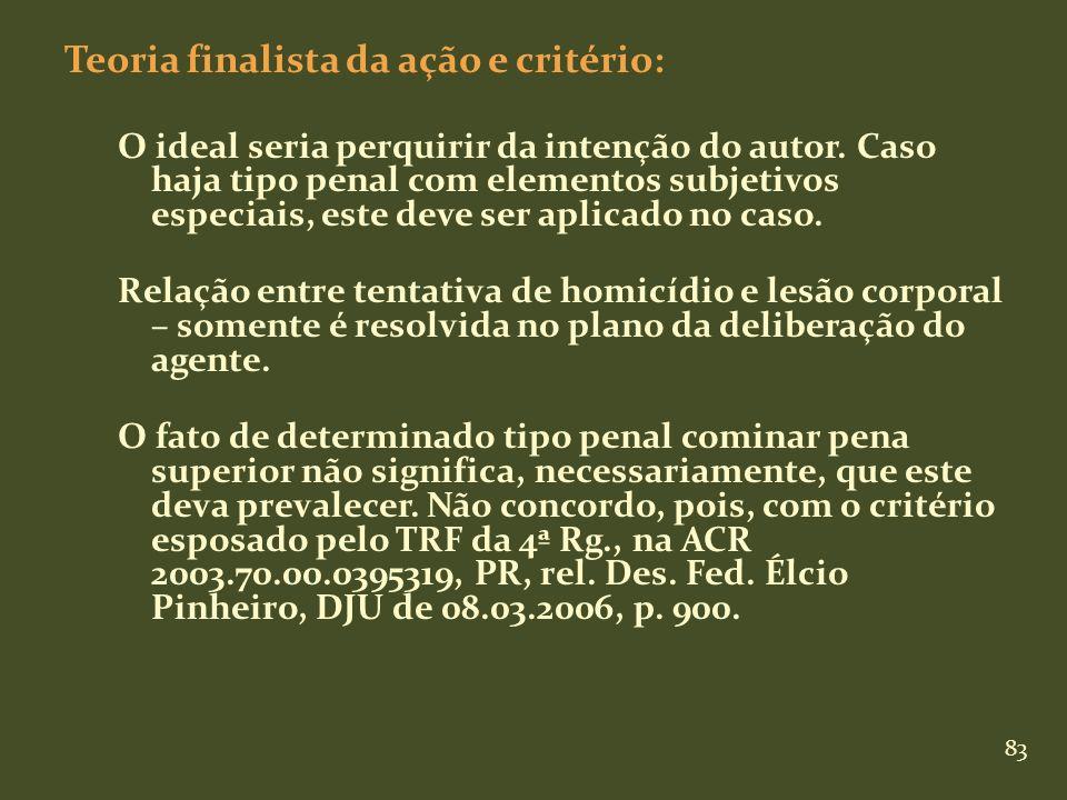 Teoria finalista da ação e critério: