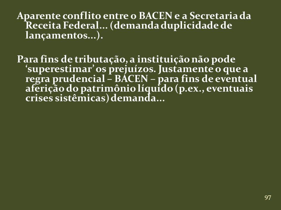 Aparente conflito entre o BACEN e a Secretaria da Receita Federal