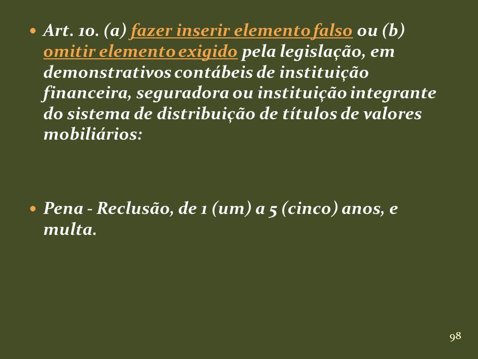 Art. 10. (a) fazer inserir elemento falso ou (b) omitir elemento exigido pela legislação, em demonstrativos contábeis de instituição financeira, seguradora ou instituição integrante do sistema de distribuição de títulos de valores mobiliários: