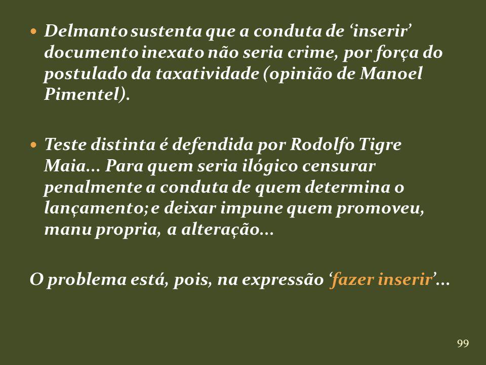 Delmanto sustenta que a conduta de 'inserir' documento inexato não seria crime, por força do postulado da taxatividade (opinião de Manoel Pimentel).
