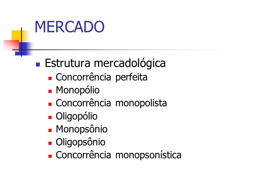MERCADO Estrutura mercadológica Concorrência perfeita Monopólio