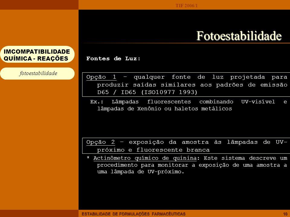 Fotoestabilidade Fontes de Luz: