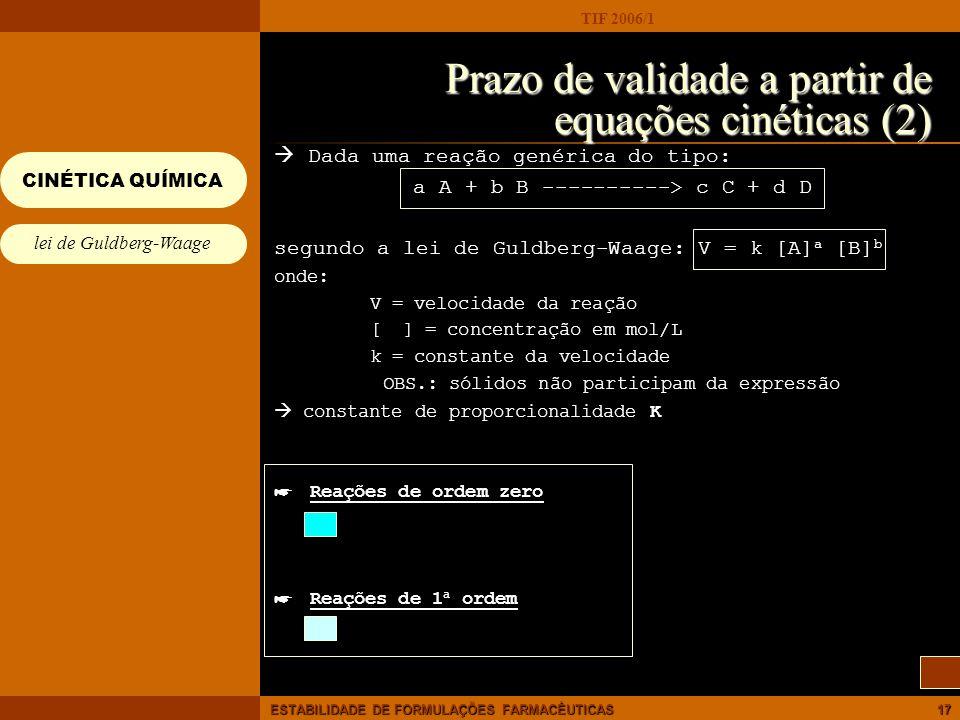 Prazo de validade a partir de equações cinéticas (2)